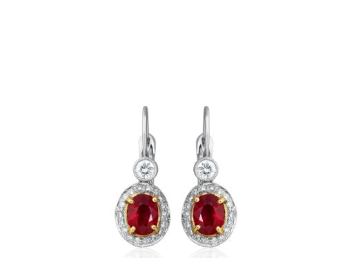 2.86ct Burma Ruby & Diamond Earrings