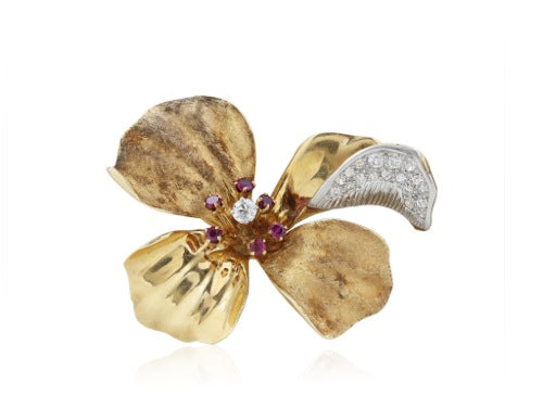 14 kt diamond and ruby retro floral pin