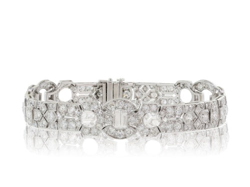 Plat Art Deco Diamond 9ct Bracelet