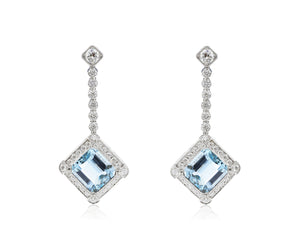 12.47ct Aquamarine Diamond Drop Earrings