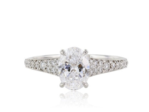 18 kt wg 1.02ct GIA D SI1 Oval Diamond Ring