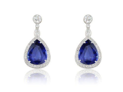Pear Shape Sapphire Earrings 12.10 ctw.
