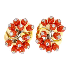 18 Karat Yellow Gold Coral and Diamond Clip On Earrings