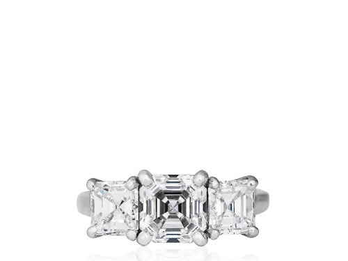 1.57ct Asscher Cut Diamond 3 Stone Ring