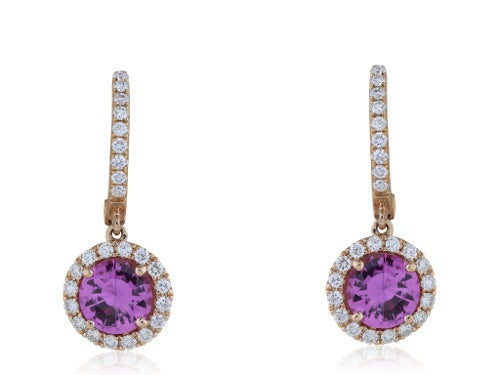 1.79ct Pink Sapphire Diamond Drop Earrings