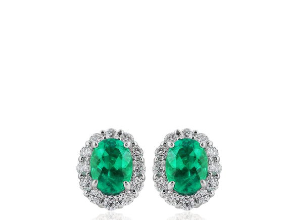 1.93ct Emerald & Diamond Earrings