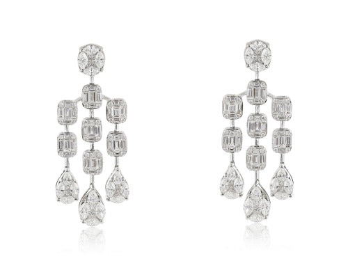 3.45 carat Diamond Chandelier Earrings