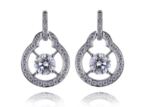 2.03ct Open Work Round Brilliant Diamond Earrings