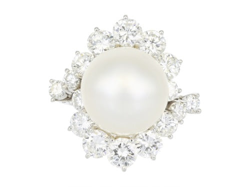 13.85mm South Sea Pearl & Diamond Estate Cluster Ring