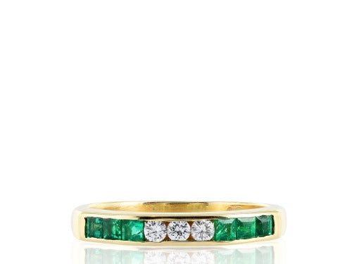 Emerald & Diamond Wedding Band