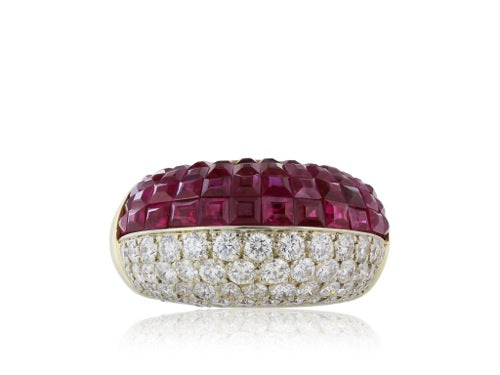 Ruby Diamond Ring 18 Karat Yelloe Gold