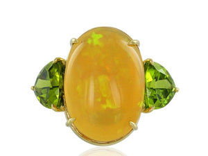 17.18 Carat Fire Opal and Peridot Ring