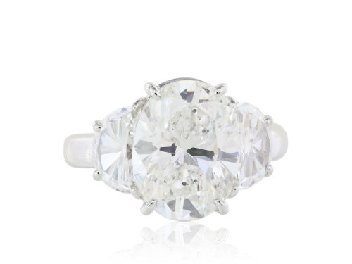 GIA 4.12 Carat G/SI1 Oval Three Stone Diamond Platinum Ring