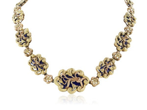 Estate 18 Karat Yellow and Rose Gold Enamel Necklace