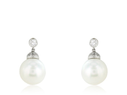 Platinum South Sea Pearl Drop Earrings
