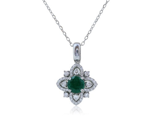 .90 Carat Emerald and .38 Carat Diamond Pendant