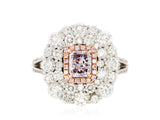 18K WG 1.02ct GIA Fancy Pink/Purple I1 Diamonds with 2.97ct Diamonds