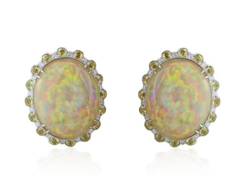 13.88 Carat Jelly Opal Earrings with Sapphire and Diamond Halo