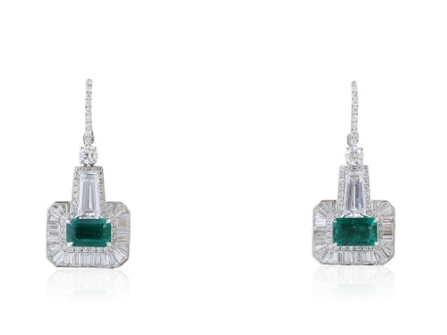 3.02 Carat Emerald and Diamond Earrings