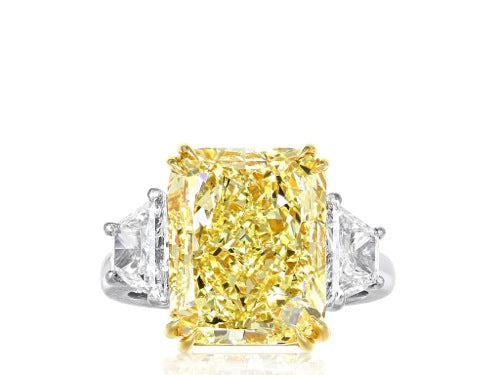 9.37 ct GIA FY SI1 Radiant Cut Canary Diamond Ring