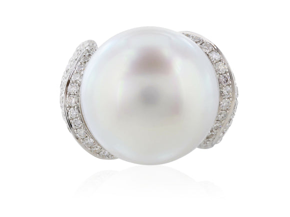 17.5MM South Sea Pearl Ring with 3.24 Carat Diamond Setting
