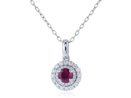 .34 Carat Ruby and Diamond Pendant