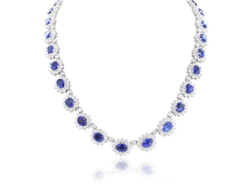 Oval Sappire And Diamond Collar Necklace