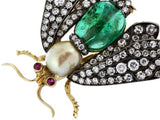 Vintage Diamond Emerald and Pearl Insect Pin