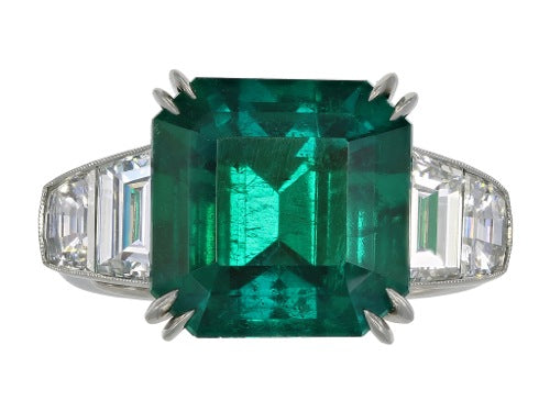 7.28ct Colombian Emerald & Diamond Ring