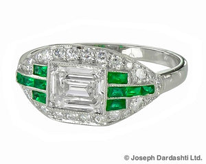 Plat Emerald and Damond 0.70 ct ring