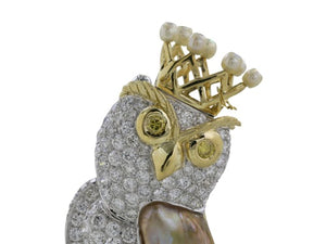1.50ct Diamond Peal Owl Pin