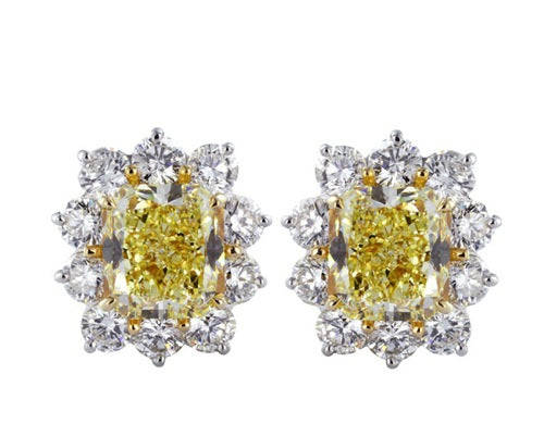 8.02ct Radiant Cut Canary Diamond Earrings