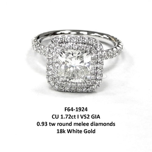 1.72ct GIA I VS2 Cushion Cut Diamond Ring