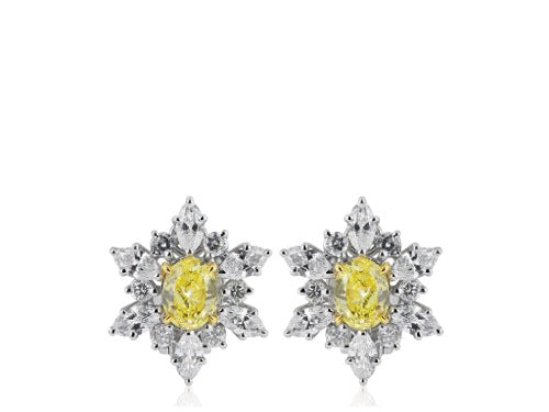 2.03ct FIY GIA Canary Diamond Cluster Earrings