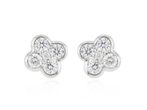 .50 Carat Clover Diamond Stud Earrings