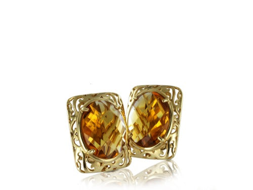 18 Karat Yellow Citrine Earrings