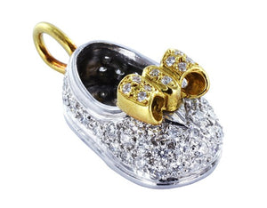 Platinum & 18kt Diamond Baby Boot .60 CTW