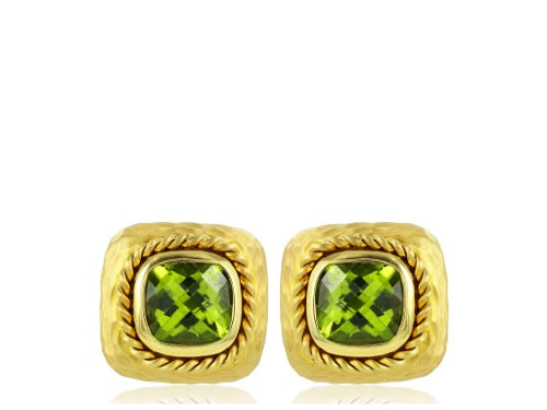 Bezel Set Peridot Earrings