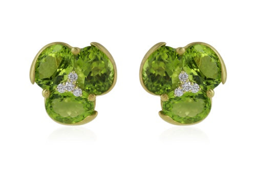 15ct Peridot Diamond Flower Earrings