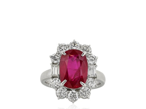 5.07ct Ruby & Diamond Cluster Ring