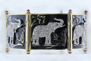 Black Enamel & Diamond Safari Elephant Bracelet