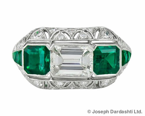 Plat EC Diamond 1.10 ct and Emerald 2@1.20 three stone ring