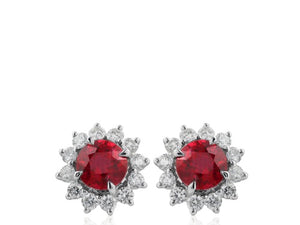 2.10ct Ruby & Diamond Earrings