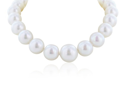 16-20 mm South Sea Pearl and Pave diamond clasp necklace