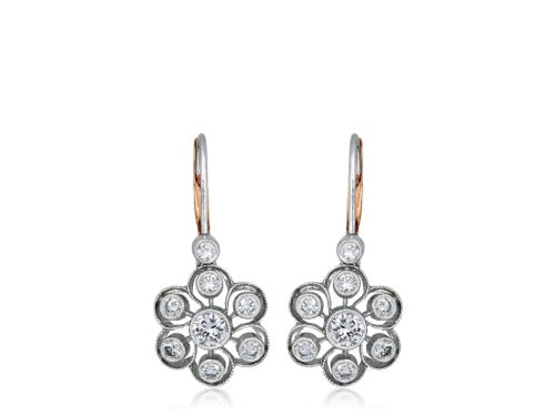 2.00ct Diamond Vintage Style Drop Earrings