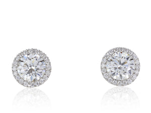 18 Karat white gold 2.05 carats Diamond Studs Earrings