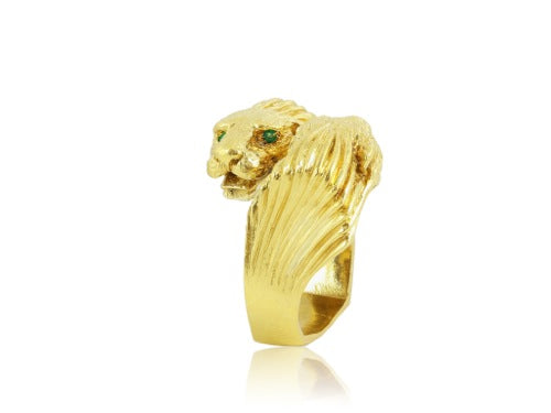22kt YG Bypass Lions Head Ring