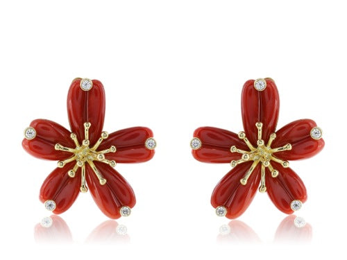 Coral and Daimond Floral Motif Earrings