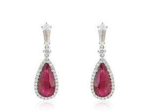18 Karat White Gold 7.87 Ct. Burma Ruby and Diamond Drop Earrings
