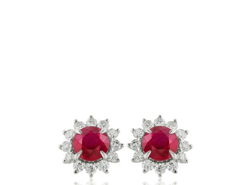 1.92ct Ruby & Diamond Earrings